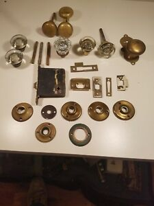 Antique Vintage Glass And Brass Door Knobs Escussions Strike Plates Spindles