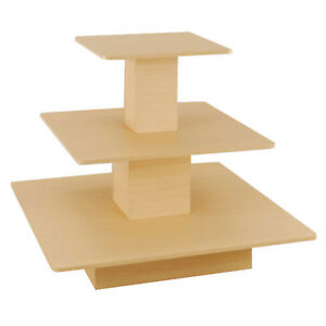 Rolling 3 Tier Table Square Boutique Clothing Wood Store Display Maple New
