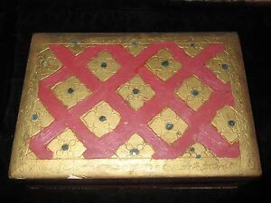Antique Red And Gold Italian Made Wood Trinket Box Hinged Lid