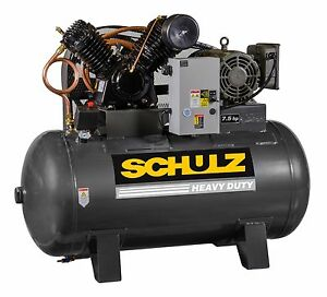 Schulz Air Compressor 7 5hp 1 Phase Horizontal 80 Gal Tank 30cfm 175 Psi