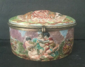 Lg Antique Original Capodimonte Porcelain Jewelry Casket Naples N Crown Mark