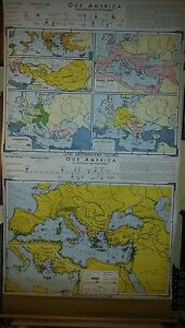 Vintage Pull Down School Map Early And Later Mediterranean Cultures