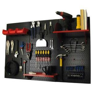 Wall Mount Pegboard Garage Tool Storage Shop Shed Organizer Shelves Red Black