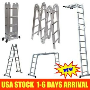 New 15 5ft 16step Aluminum Multi Purpose Ladder Telescoping Folding Extension