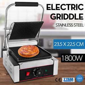Commercial Electric Contact Press Grill Griddle 1800w Bbq Panini Grill 110v