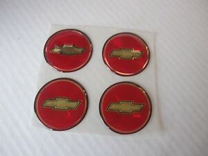 4 Red Gold Bowtie Chevy Emblems For Center Caps 1 75 Od