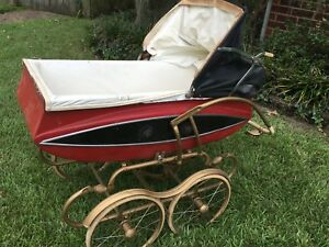 Vintage Metal Baby Pram Carriage Buggy Works Full Size