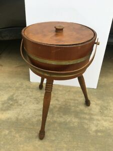 Vtg Antique 3 Leg Wood Knitting Sewing Storage Container Bucket Primitive