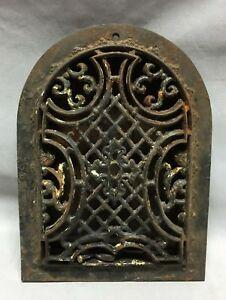 Antique Arched Top Heat Grate Maltese Cross Gothic Arch 7x10 165 19c