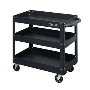 Steel Glide 3 tray Industrial Commercial Service Cart 300 Lb Capacity Black