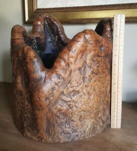 Antique Japanese Burl Wooden Wood Hibachi Vessel Copper Lined Beautiful