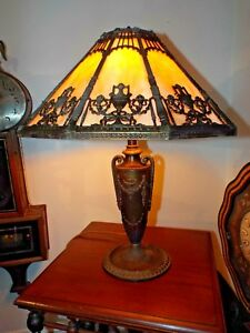 Antique Bradley Hubbard 24 Tall 10 Panel Slag Stained Glass Table Lamp 4 Socket