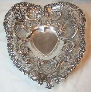 Huge Gorham Sterling Silver Pierced And Footed Heart Bowl 1894 Good Condition