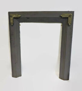 Antique Cast Iron Large Fireplace Surround W Brass Accent Corners 29 25 X 32 75