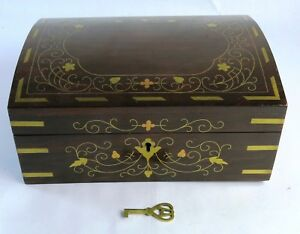 Vintage Antique Floral Brass Inlaid Rosewood Wood Jewelry Box Orig Key