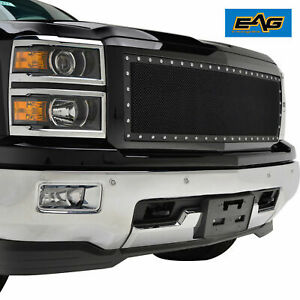 14 15 Chevy Silverado 1500 Rivet Mesh Grille Black Replacement Abs