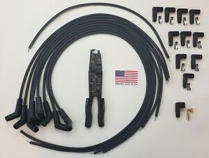 Chevy Ford Black Universal Hei Spark Plug Wires 135 45 Degree Boots Crimp Tool