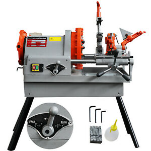 Electric Pipe Threading Machine 1 2 4 Npt Quick Opening 4 Dies Oil Can