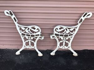 Gothic Dragon Vintage Cast Iron Park Bench Legs Garden Bench Matching Pair Used