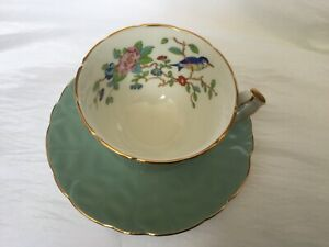 Aynsley Vintage Teal Sage Green Footed Tea Cup And Saucer Free Shipping