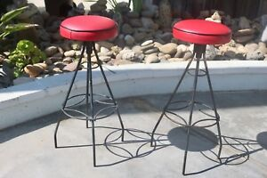 Black And Red Mid Century Modern Vintage Bar Stools Set Of 2