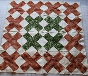 54 Antique 1850 60 Small X Patch Quilt Blocks Madder Red Brown Beautiful Gre