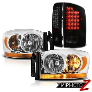 2006 Dodge Ram 1500 2500 Slt Sterling Chrome Headlights Darkest Smoke Taillights