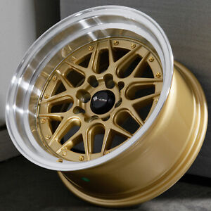 15x8 Gold Wheels Vors Vr7 4x100 4x114 3 0 Set Of 4