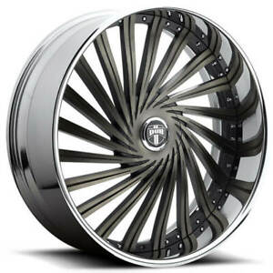 4 24 Dub Wheels Dazed S241 Black Machined With Ddt Chrome Lip Rims Fs