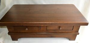 Antique English Rustic Oak Solid Coffee Cocktail Table 2 Drawers Open Both Sides