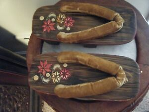 Pair Of Old Chinese Wooden Shoes Velvet Straps Hand Painted Flowers