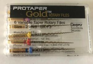 Dental Protaper Gold Assorted Niti Taper Rotary Files 25 Mm sx f3 Pack Of 6