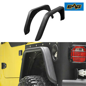 Eag Rear Fenders Rock Guard Textured Black Armor Fits 97 06 Jeep Wrangler Tj