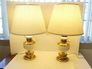 2 26 5 Beige Oil Lamp Lantern Style Toleware Table Lamps Fabric Shades Euc