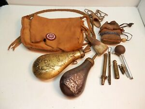 BLACK POWDER POSSIBLES BAGPOWDER FLASK LOT WITH ACCESSORIES