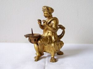 Vtg French Figural Gold Guild Finger Hole Claw Feet Single Spool Thread Holder