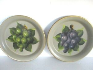 Pair Near Mint Hand Painted Vintage Mid Century Design Country Fruit Tole Trays