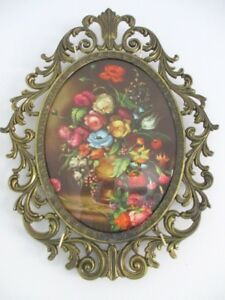 Large Vintage Italian Florentine Tole Still Life Flowers Ornate Wall Picture