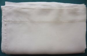 Antique Linen Flat Sheet 79 X 100 Drawnwork Border Hemmed Edges Lovely