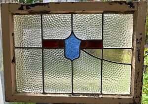 Antique Leaded English Stained Glass Window Wood Frame England Old House 23
