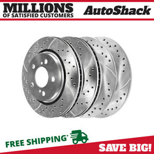Front Rear Drilled And Slotted Brake Rotors Ceramic Pads For 11 17 Toyota Sienna