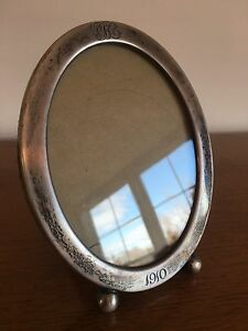 Antique 1910 Sterling Silver Oval Photo Picture Frame 6 X 5 Inches Overall