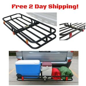 Folding Hitch Mounted Cargo Carrier Basket Trailer Receiver Rack Truck Car Suv
