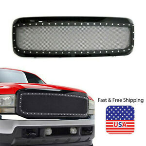Fits 1999 2004 Ford F250 F350 Super Duty Rivet Grill Stainless Steel Gloss Black