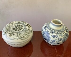 Hoi An Hoard Shipwreck Porcelain Circa 15th Century Vase And Bowl With Cover
