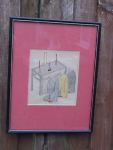 801 Antique Japanese Hand Coloured Pen And Ink Drawing Of Monks Praying
