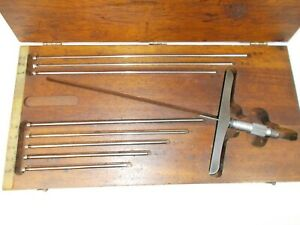 Vintage Starrett No 445 Depth Micrometer 6 Inch Base 9 Rods In Wood Case