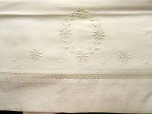 Antique Linen Flat Sheet 82 X 81 Tatted Top Border Embroidered Center Turndown