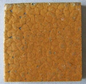 Grueby Pottery Faience Tile Curdled Mustard Matte Glaze Arts Crafts Mission