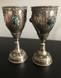 Vintage Pair Sterling Silver Jeweled Kiddush Cup Goblet W Stones Gilt Judaica